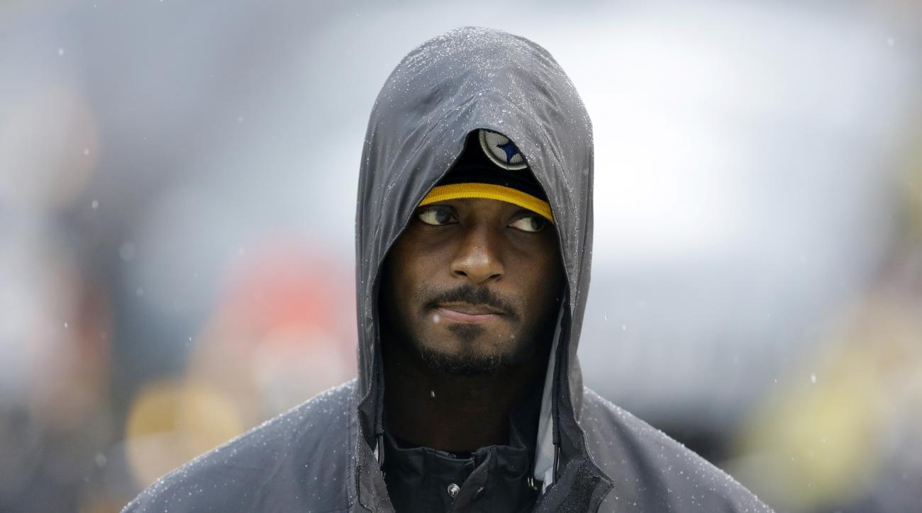 Pittsburgh Steelers wide receiver Plaxico Burress walks on the sidelines during the second half of an NFL football game against the Cleveland Browns in Pittsburgh, Sunday, Dec. 29, 2013. The Steelers won 20-7. (AP Photo/Gene J. Puskar)