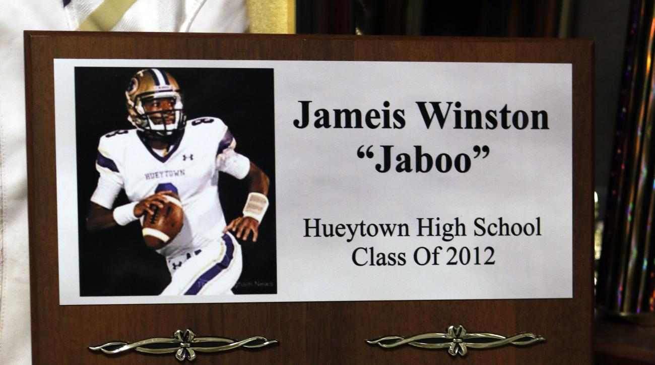 A plaque listing some of Jameis Winston's honors sits in a trophy case at Hueytown High School, Thursday, April 30, 2015, in Hueytown, Ala. Winston is expected to be drafted in the first round of the NFL Draft on Thursday.  (AP Photo/Butch Dill)