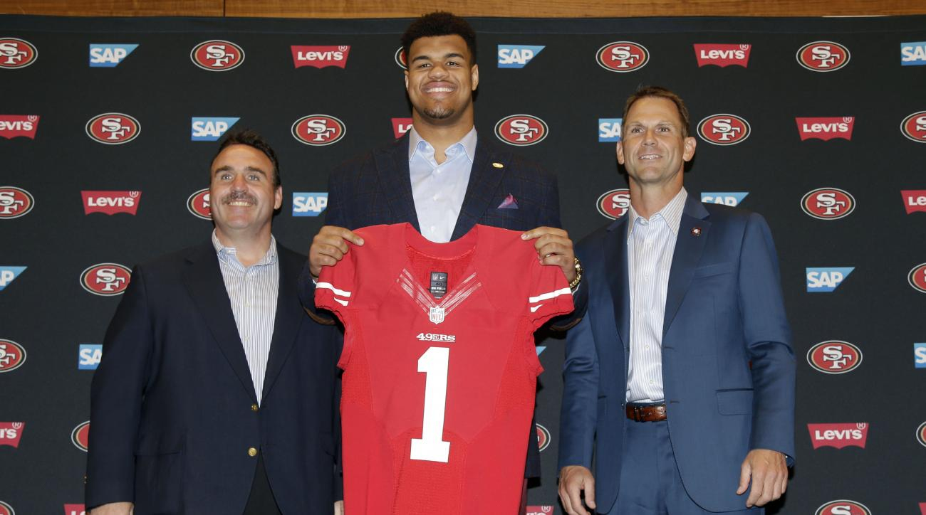 San Francisco 49ers first-round draft pick Arik Armstead, center, holds up a jersey next to head coach Jim Tomsula, left, and General Manager Trent Baalke during an NFL football news conference Friday, May 1, 2015, in Santa Clara, Calif. (AP Photo/Marcio