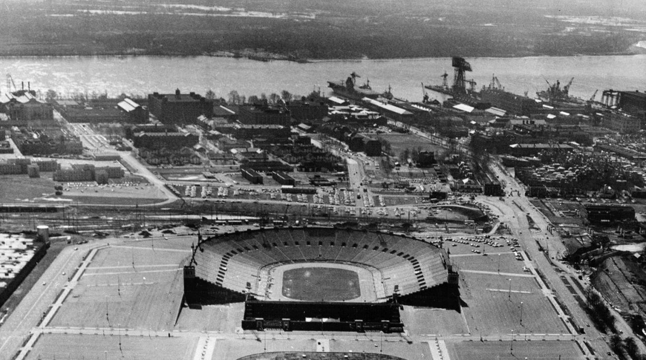Philadelphia's Veterans Stadium, foreground, The Spectrum, center, and JFK Stadium are seen in this April 2, 1971 photo. The Friday, April 4, 2003 final home opener for the Phillies at Veterans Stadium is sold out.  The last available tickets to the game