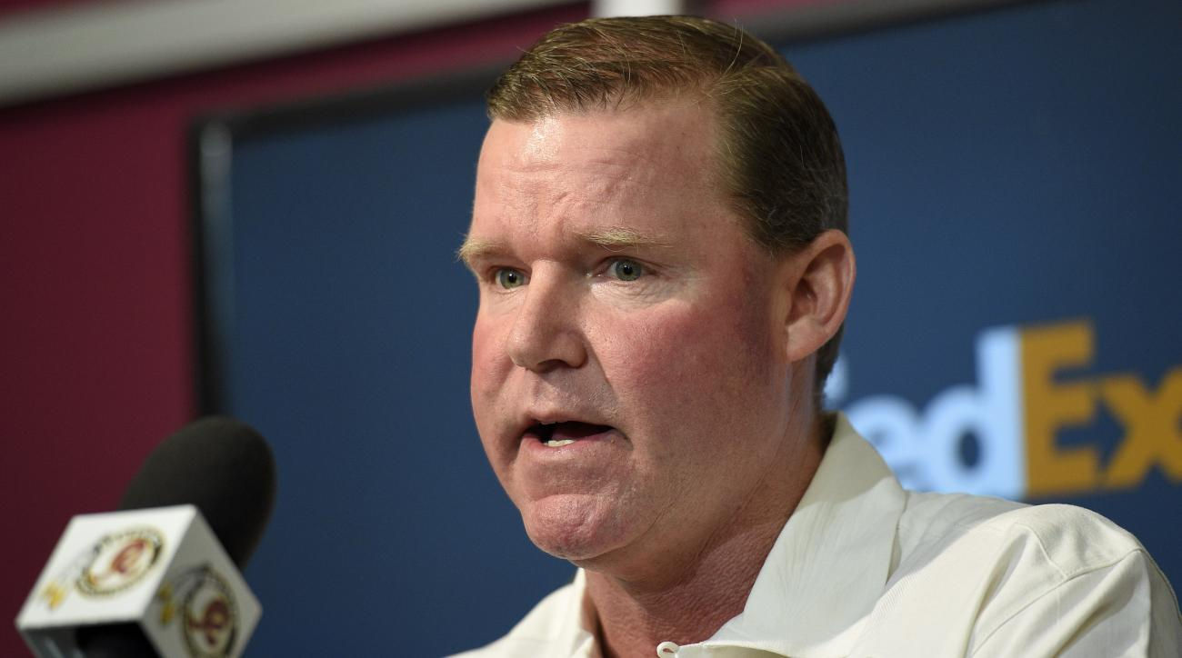 FILE - In this April 27, 2015, file photo, Washington Redskins general manager Scot McCloughan speaks to the media during a pre-draft NFL football news conference in Ashburn, Va. McCloughan says Monday, May 4, 2015, his first draft with the Redskins refle