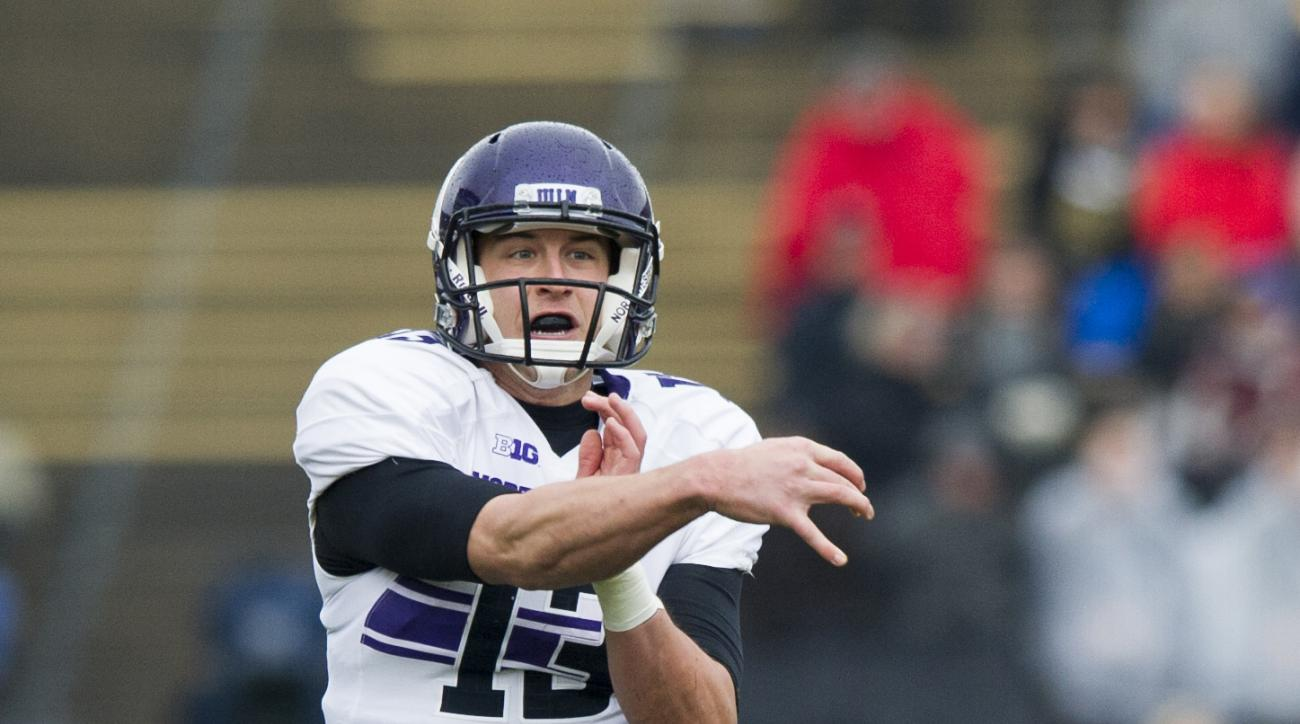 FILE - In this Nov. 22, 2014, file photo, Northwestern quarterback Trevor Siemian (13) lets go of a pass during the first half of an NCAA college football game against Purdue in West Lafayette, Ind. Brock Osweiler got married this offseason and this weeke