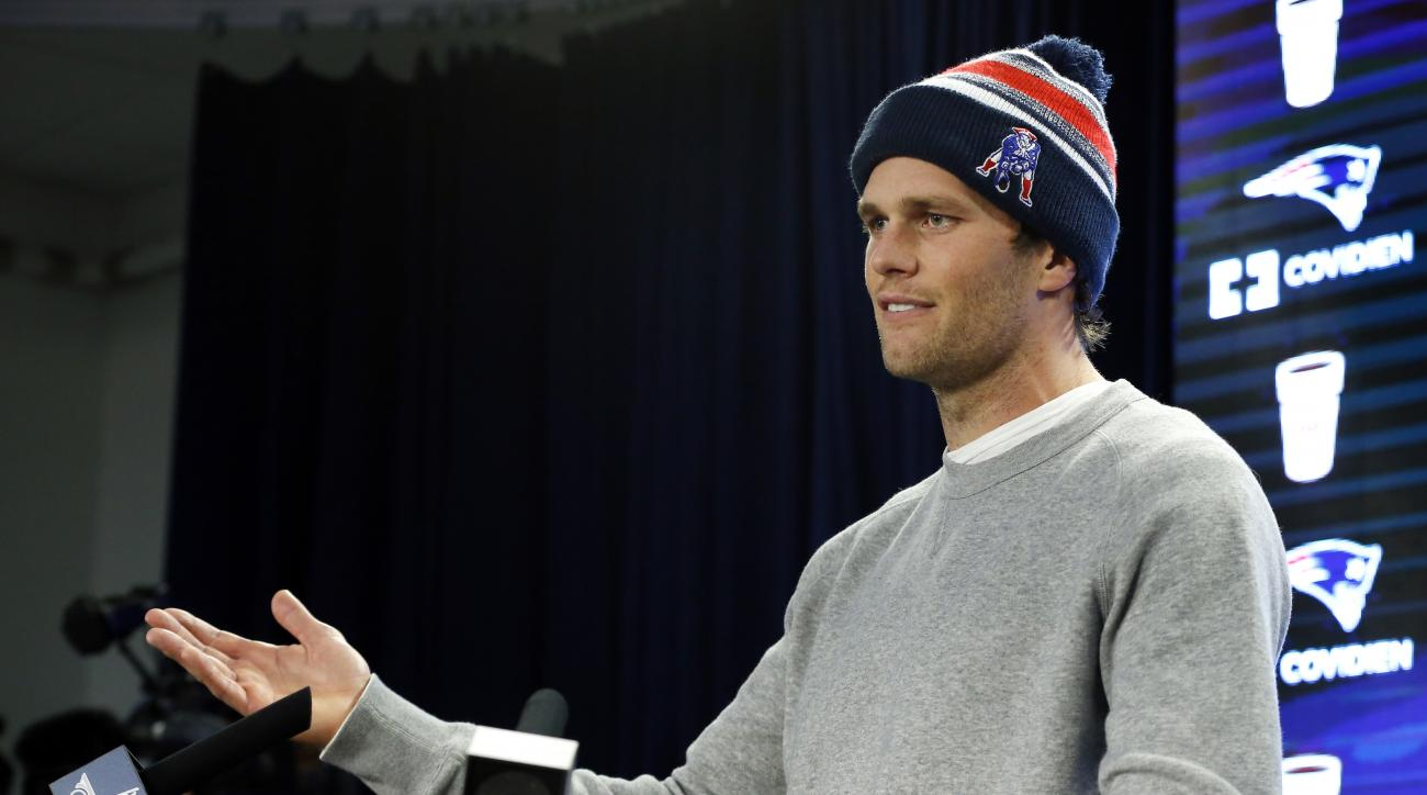 FILE - In this Jan. 22, 2015, file photo, New England Patriots quarterback Tom Brady speaks at a news conference about the NFL investigation into deflated footballs, in Foxborough, Mass. An NFL investigation has found that New England Patriots employees l