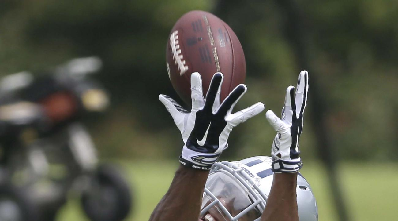 Dallas Cowboys first round draft pick corner back Byron Jones (31) catches a ball during an NFL football rookie minicamp, Friday, May 8, 2015, in Irving, Texas. (AP Photo/LM Otero)