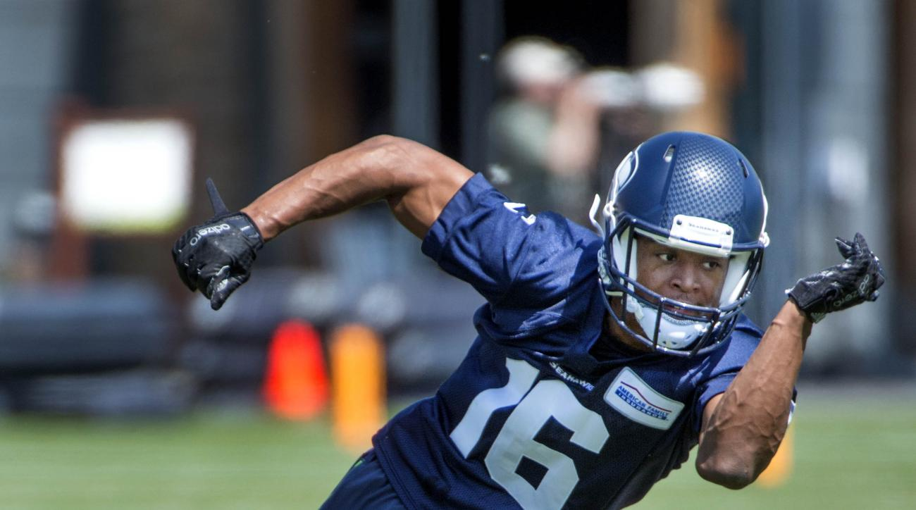 Seattle Seahawks return specialist Tyler Lockett works out during NFL football rookie minicamp in Renton, Wash., Friday, May 8, 2015. (Drew Perine/The News Tribune via AP) SEATTLE BROADCAST OUT