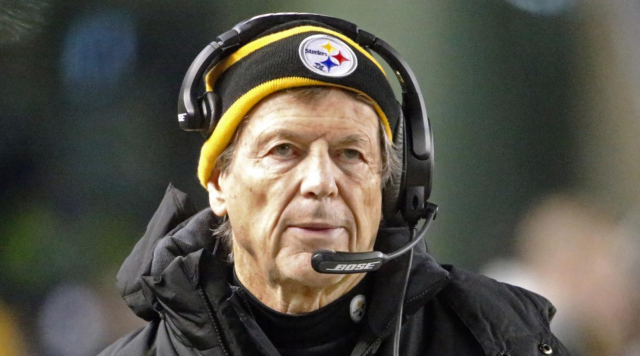 FILE - In this Jan. 3, 2015, file photo, former Pittsburgh Steelers defensive coordinator Dick LeBeau stands on the sideline during an NFL wildcard playoff football game against the Baltimore Ravens in Pittsburgh. The Tennessee Titans hired LeBeau last Fe