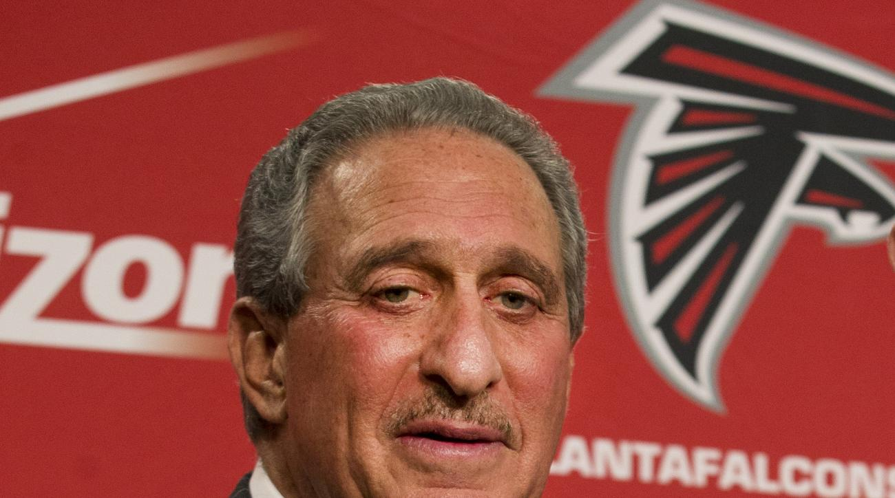 "FILE - In this Feb. 3, 2015, file photo, Atlanta Falcons owner Arthur Blank poses after  a news conference in Flowery Branch, Ga. Blank says there is a ""general feeling"" that the Patriots' failure to acknowledge mistakes hurt the them when it came to the"