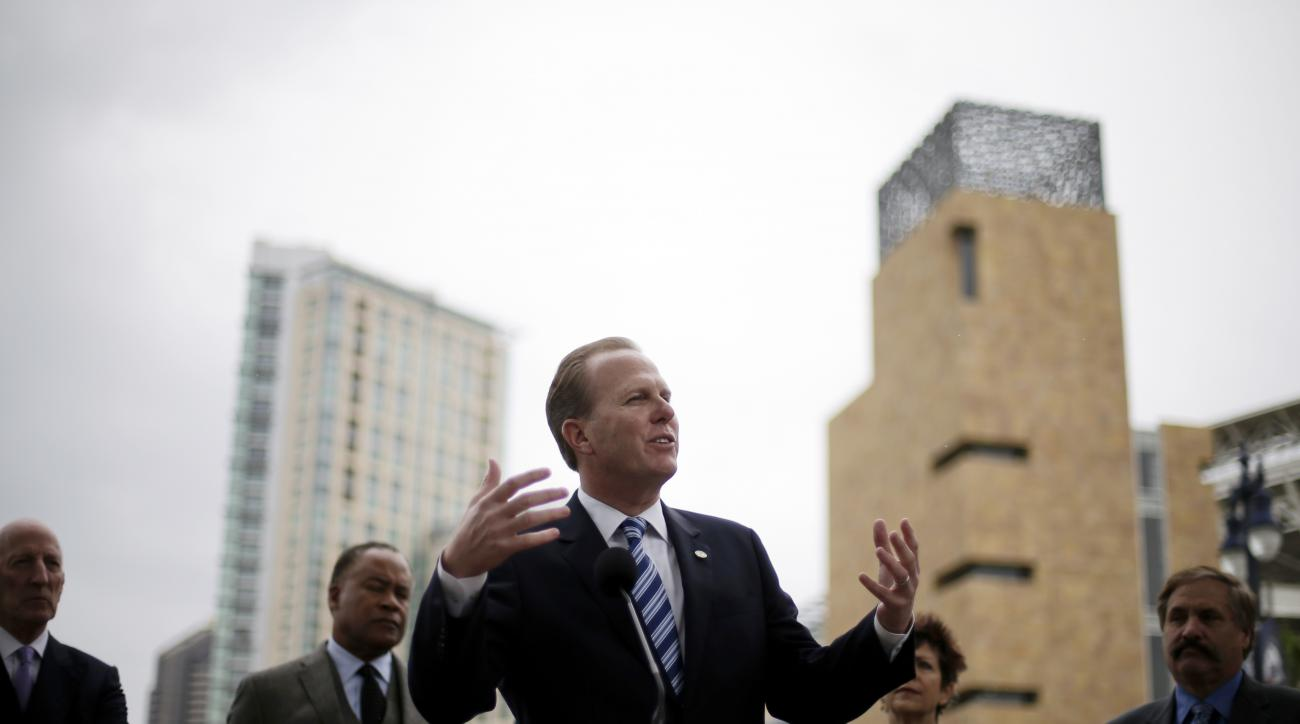 San Diego Mayor Kevin Faulconer speaks during a news conference about the city's efforts to build a new stadium for the San Diego Chargers NFL football team Friday, Jan. 30, 2015, in San Diego. Faulconer named a group Friday that will work to develop a pl