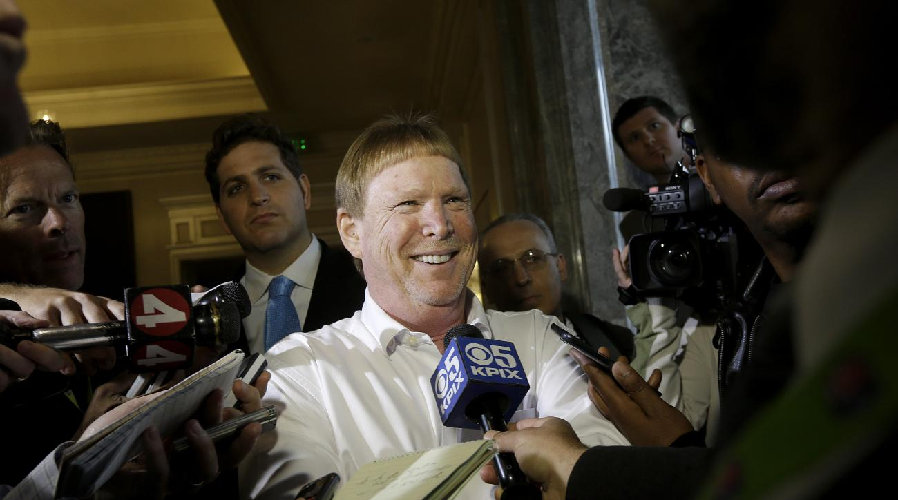 Oakland Raiders owner Mark Davis speaks to reporters before the NFL's spring meetings in San Francisco, Tuesday, May 19, 2015. (AP Photo/Jeff Chiu)