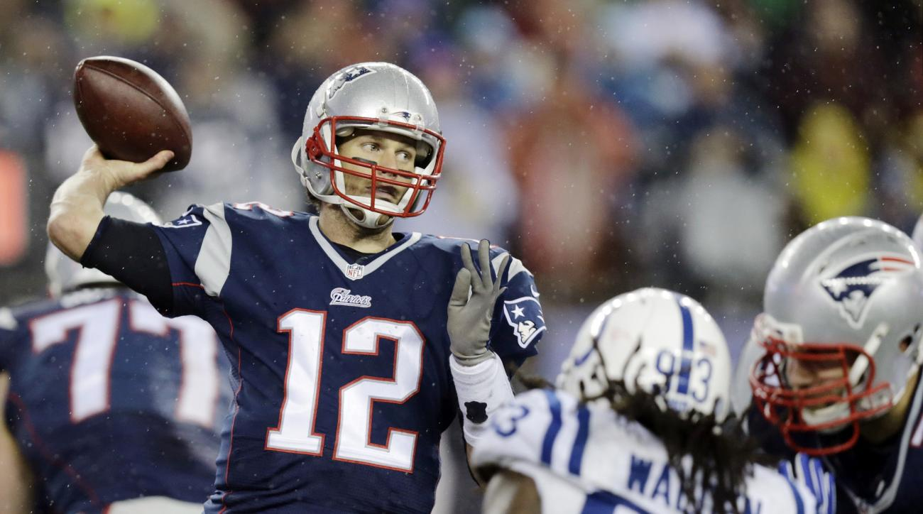 FILE - In this Jan. 18, 2015, file photo, New England Patriots quarterback Tom Brady (12)  passes against the Indianapolis Colts during the second half of the NFL football AFC Championship game in Foxborough, Mass. Roger Goodell will hear Tom Brady's appe
