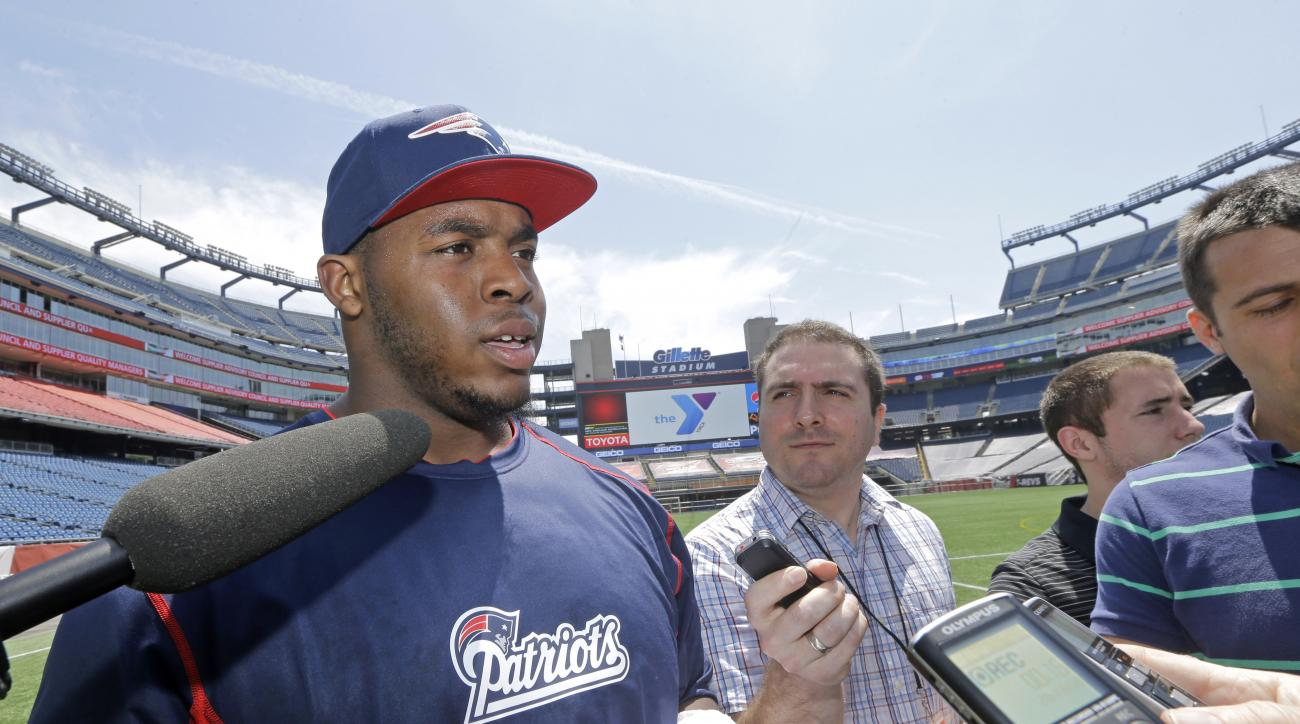 New England Patriots rookie Shaq Mason speaks to media during an NFL football availability at Gillette Stadium in Foxborough, Mass., Thursday, May 28, 2015. (AP Photo/Elise Amendola)