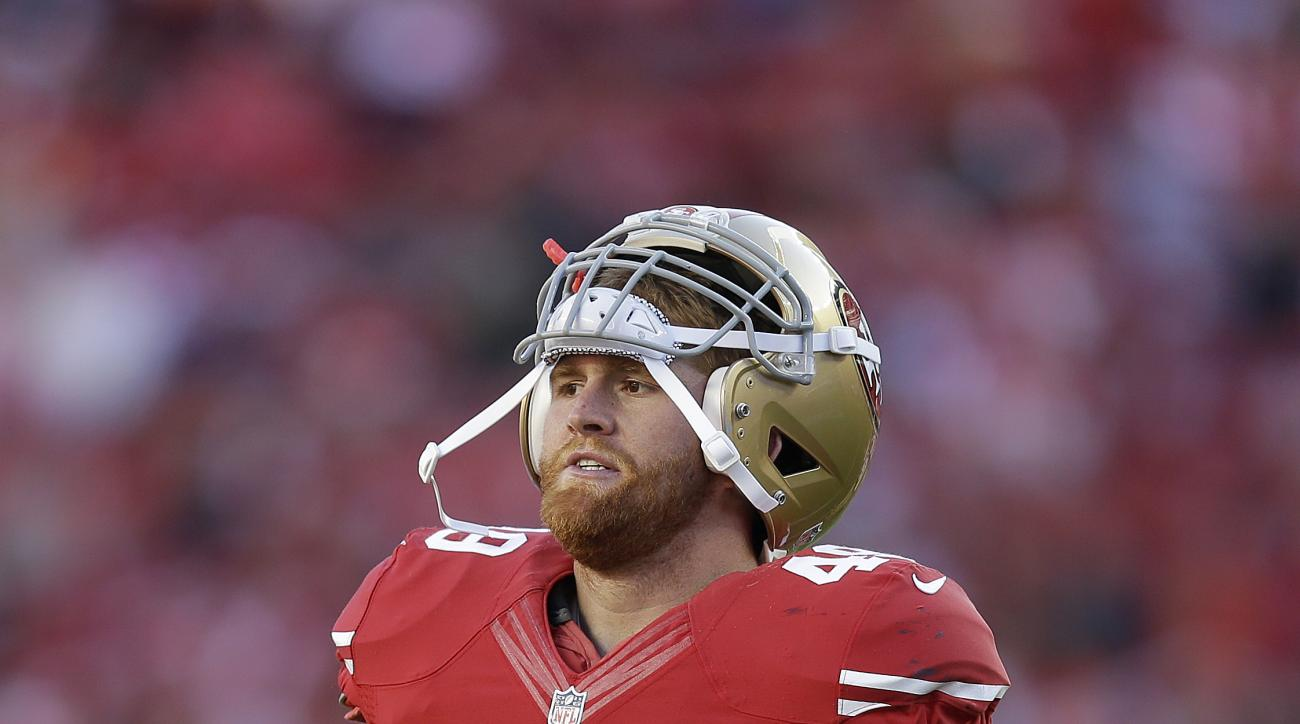 In this Nov. 2, 2014, file photo, San Francisco 49ers fullback Bruce Miller walks off the field during an NFL football game against the St. Louis Rams in Santa Clara, Calif. Miller has pleaded no contest to disturbing the peace in connection with an argum