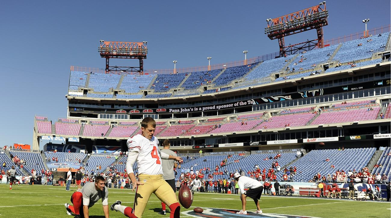 San Francisco 49ers punter Andy Lee (4) warms up before an NFL football game against the Tennessee Titans on Sunday, Oct. 20, 2013, in Nashville, Tenn. (AP Photo/Mark Zaleski)