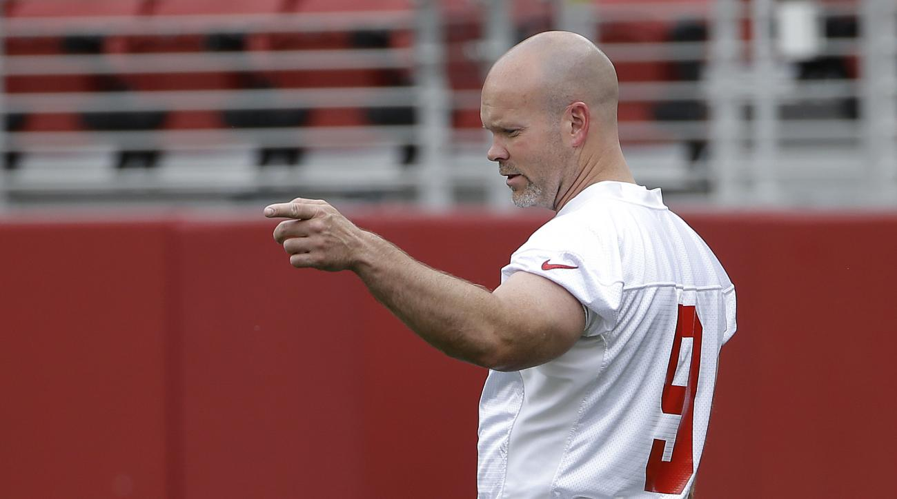San Francisco 49ers kicker Phil Dawson (9) gestures during an NFL football mini-camp in Santa Clara, Tuesday, June 9, 2015. (AP Photo/Jeff Chiu)