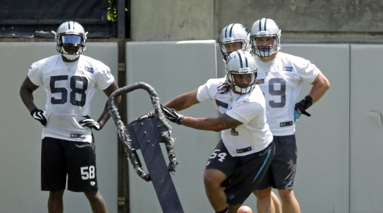 Carolina Panthers' Shaq Thompson (54) runs a drill during an NFL football organized team activity in Charlotte, N.C., Thursday, June 11, 2015. Thompson returned to practice after missing most of OTAs having been on the quarter system at Washington, which