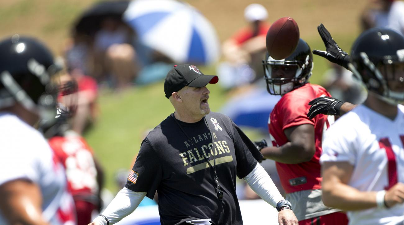 Atlanta Falcons head coach Dan Quinn directs his players during NFL football minicamp, Tuesday, June 16, 2015, in Flowery Branch, Ga. (AP Photo/John Bazemore)