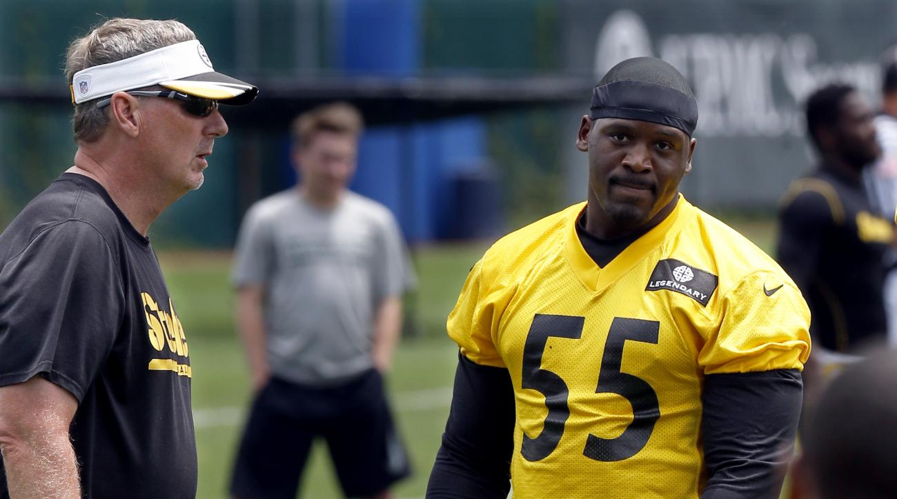 Pittsburgh Steelers outside linebacker Arthur Moats (55) stands with defensive coordinator Keith Butler at the start of drills in the NFL football mini camp, Tuesday, June 16, 2015 in Pittsburgh. Moats says he is ready to build on his promising 2014 seaso