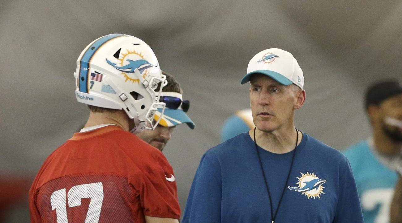 Miami Dolphins head coach Joe Philbin, right, talks to quarterback Ryan Tannehill (17) during NFL football minicamp, Wednesday, June 17, 2015, in Davie, Fla. (AP Photo/Alan Diaz)