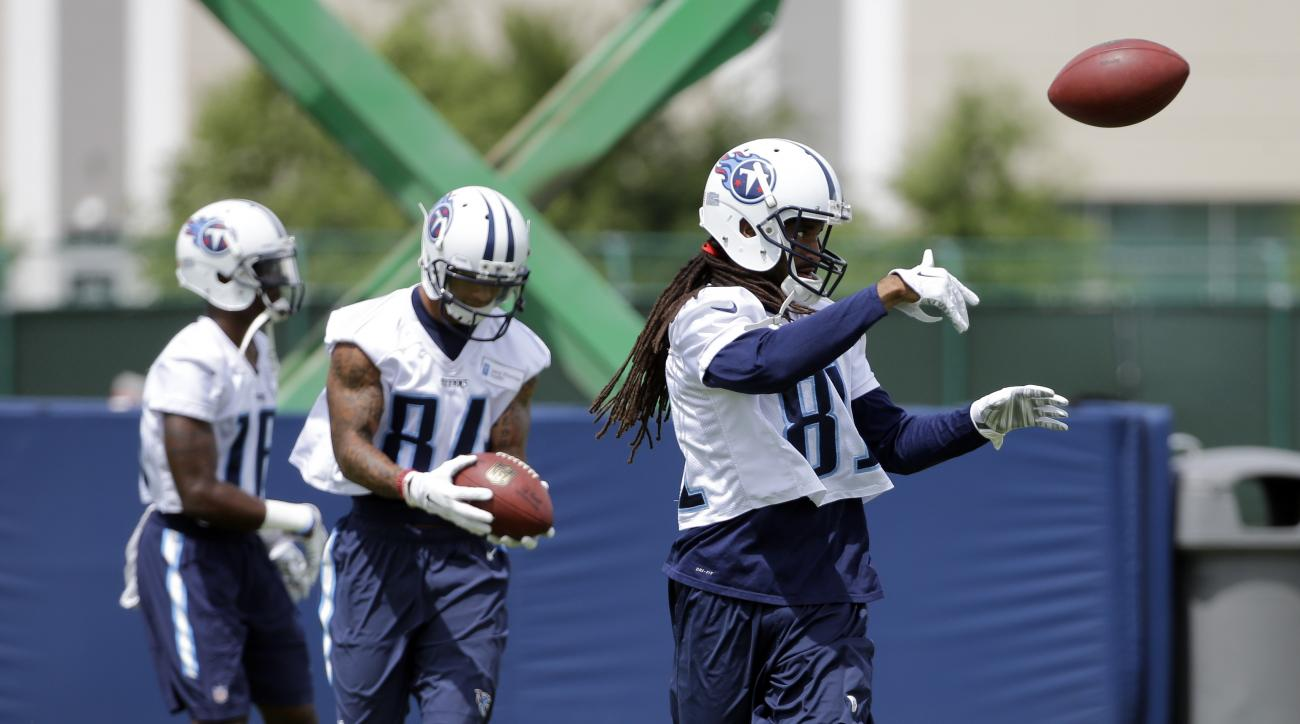 Tennessee Titans wide receiver Rico Richardson (81) runs through a drill during NFL football minicamp on Thursday, June 18, 2015, in Nashville, Tenn.  The Titans wrap up their three-day mandatory minicamp Thursday with coach Ken Whisenhunt reminding his y