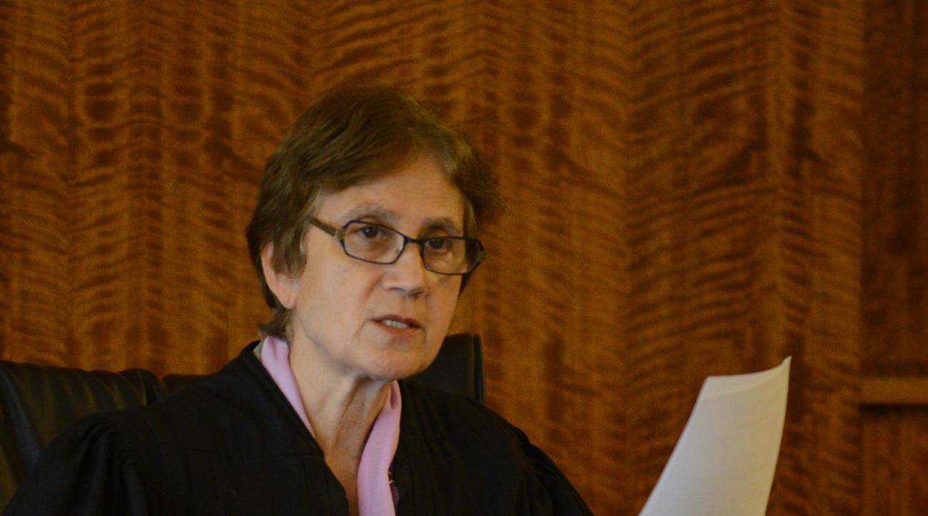 Judge E. Susan Garsh presides at a hearing for Carlos Ortiz and Ernest Wallace, co-defendants of ex-New England Patriots player Aaron Hernandez, at Bristol County Superior Court in Fall River, Mass., Friday, June 26, 2015. Wallace and Ortiz are accused of