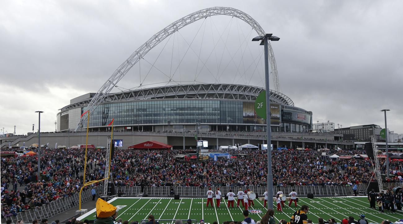 FILE - This is a Sunday, Oct. 27, 2013  file photo of a band as it entertains supporters as they arrive at Wembley Stadium in London to watch the NFL football game between San Francisco 49ers and Jacksonville Jaguars. The NFL said Wednesday July 8, 2015