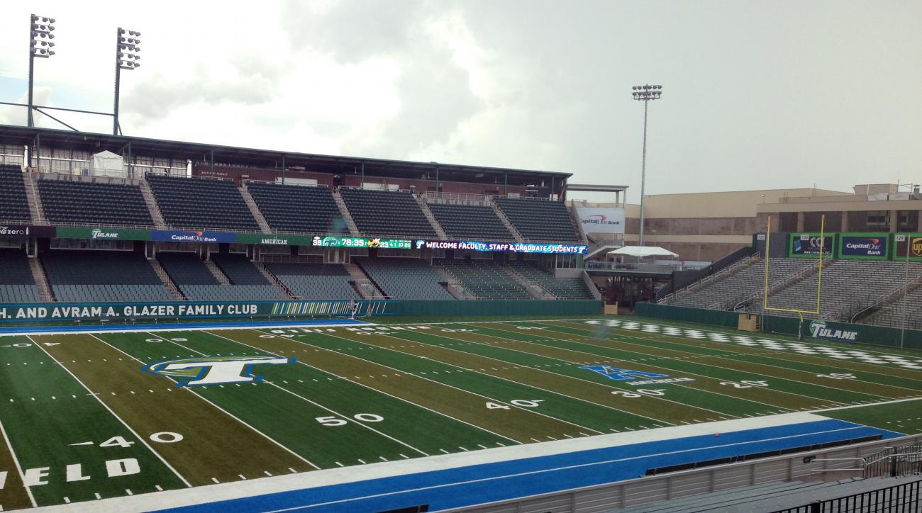 In this photo taken Thursday, Sept. 4, 2014, recently completed Yulman Stadium is viewed in New Orleans, La. The stadium will bring back NCAA college football to Tulane's campus for the first time since 1974 on Saturday with a game against Georgia Tech. (
