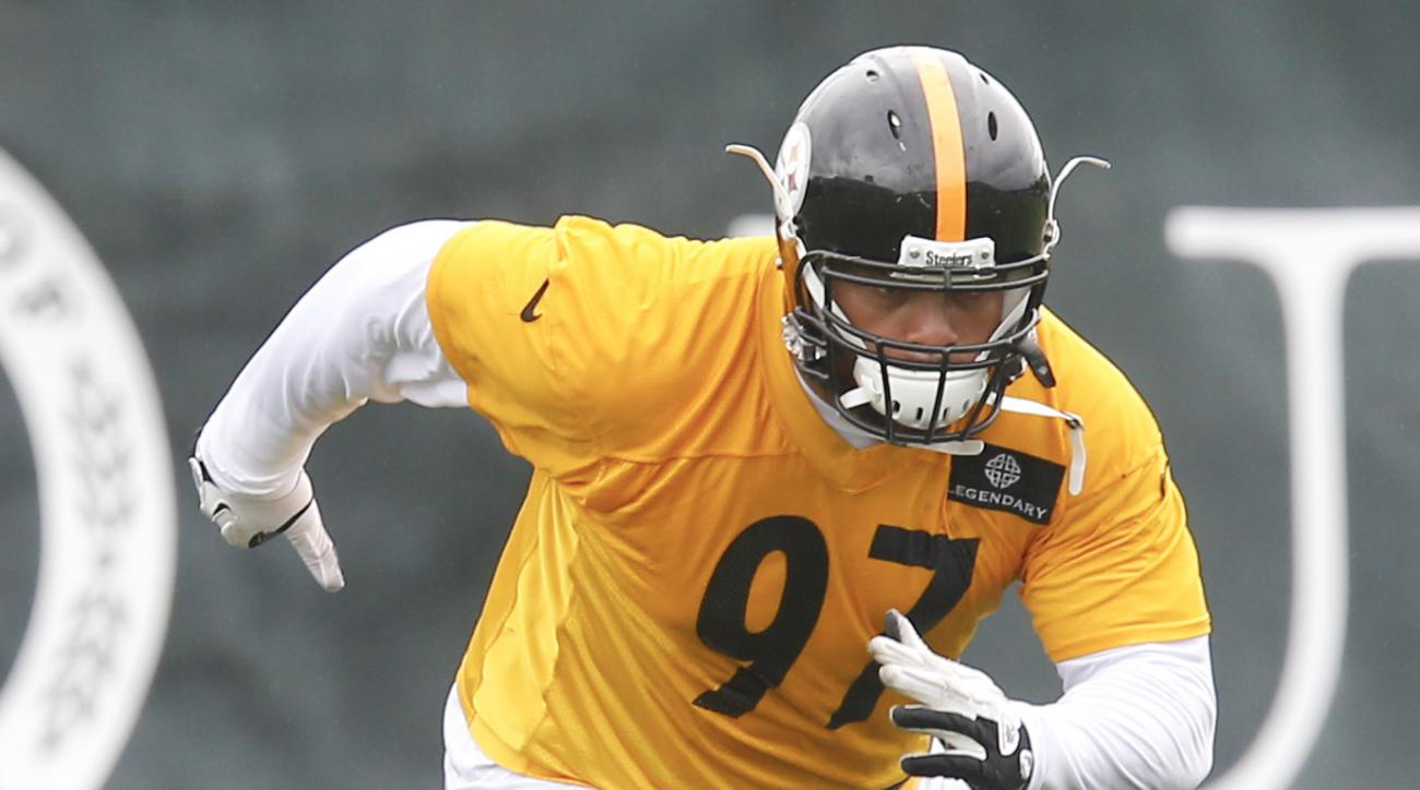 Pittsburgh Steelers defensive end Cameron Heyward (97) during the NFL football minicamp, Thursday, June 18, 2015 in Pittsburgh. (AP Photo/Keith Srakocic)