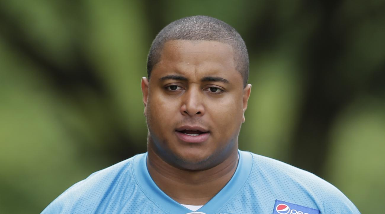 Carolina Panthers' Jonathan Martin (75) arrives for an NFL football organized team activity in Charlotte, N.C., Monday, June 8, 2015. (AP Photo/Chuck Burton)