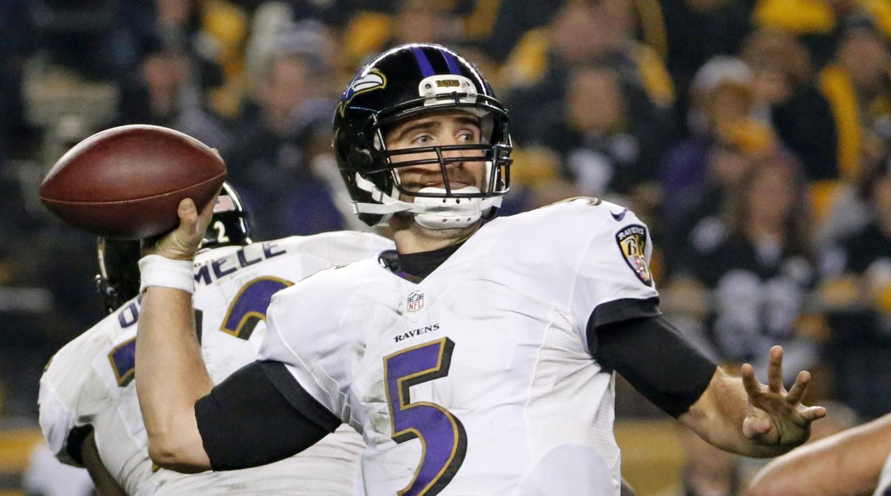 FILE - In this Jan. 3, 2015, file photo, Baltimore Ravens quarterback Joe Flacco (5) prepares to pass during the first half of an NFL wildcard playoff football game against the Pittsburgh Steelers in Pittsburgh. Flacco is coming off his finest season and