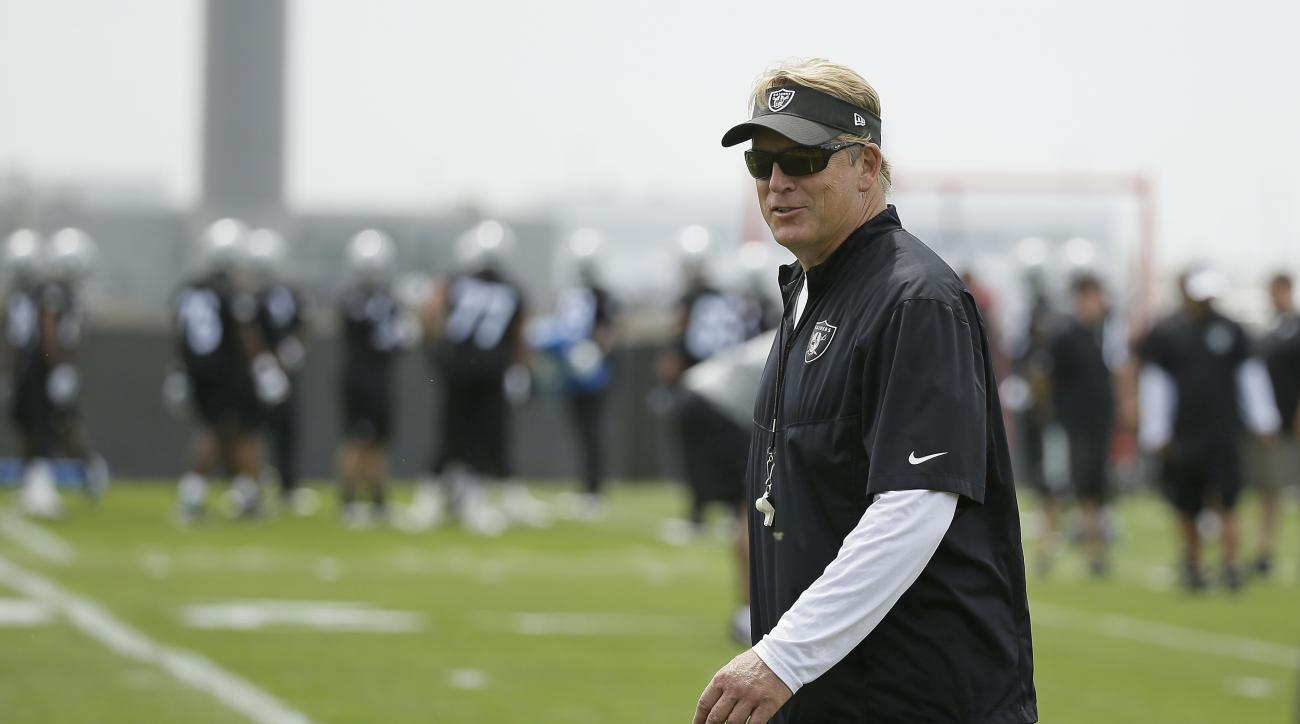 FILE - In this Tuesday, June 9, 2015, photo, Oakland Raiders head coach Jack Del Rio walks along the sidelines during NFL football minicamp at the team's training facility, in Alameda, Calif. The arrival of Del Rio's new staff, upgrades made through free