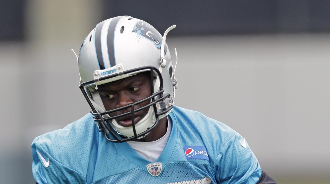 In this June 4, 2015, photo Carolina Panthers' Stephen Hill runs after a catch during an NFL football organized team activity in Charlotte, N.C. Hill has been cited for knowingly possessing drug paraphernalia with intent to use. Concord Police Department