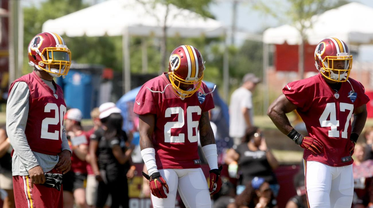 Washington Redskins cornerback Bashaud Breeland (26), center, defensive back Jeron Johnson, left, and  defensive back Akeem Davis go through offensive drills during an NFL football training camp in Richmond, Va., Friday, July 31, 2015. Breeland was suspen
