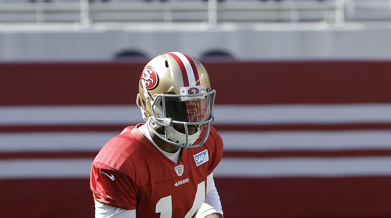 San Francisco 49ers wide receiver Jerome Simpson runs during the team's NFL football training camp in Santa Clara, Calif., Sunday, Aug. 2, 2015. (AP Photo/Jeff Chiu)