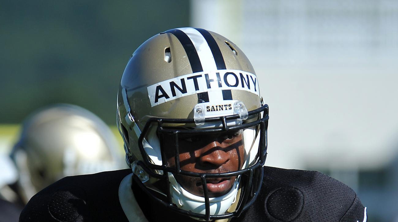 New Orleans Saints middlelinebacker Stephone Anthony (50) looks on during the team's NFL football training camp in White Sulphur Springs, W. Va., Monday, Aug. 3, 2015. (AP Photo/Chris Tilley)