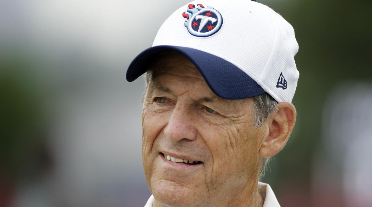 Tennessee Titans assistant head coach for defense Dick LeBeau talks with fans following NFL football training camp Wednesday, Aug. 5, 2015, in Nashville, Tenn. LeBeau's love of guitars makes him a perfect fit in Music City, and the history buff is a short