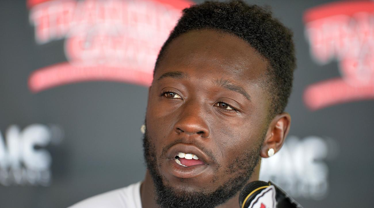 Kansas City Chiefs wide receiver De'Anthony Thomas addresses the media at NFL football training camp Wednesday, Aug. 5, 2015, in St. Joseph, Mo. (Andrew Carpenean/The St. Joseph News-Press via AP) MANDATORY CREDIT
