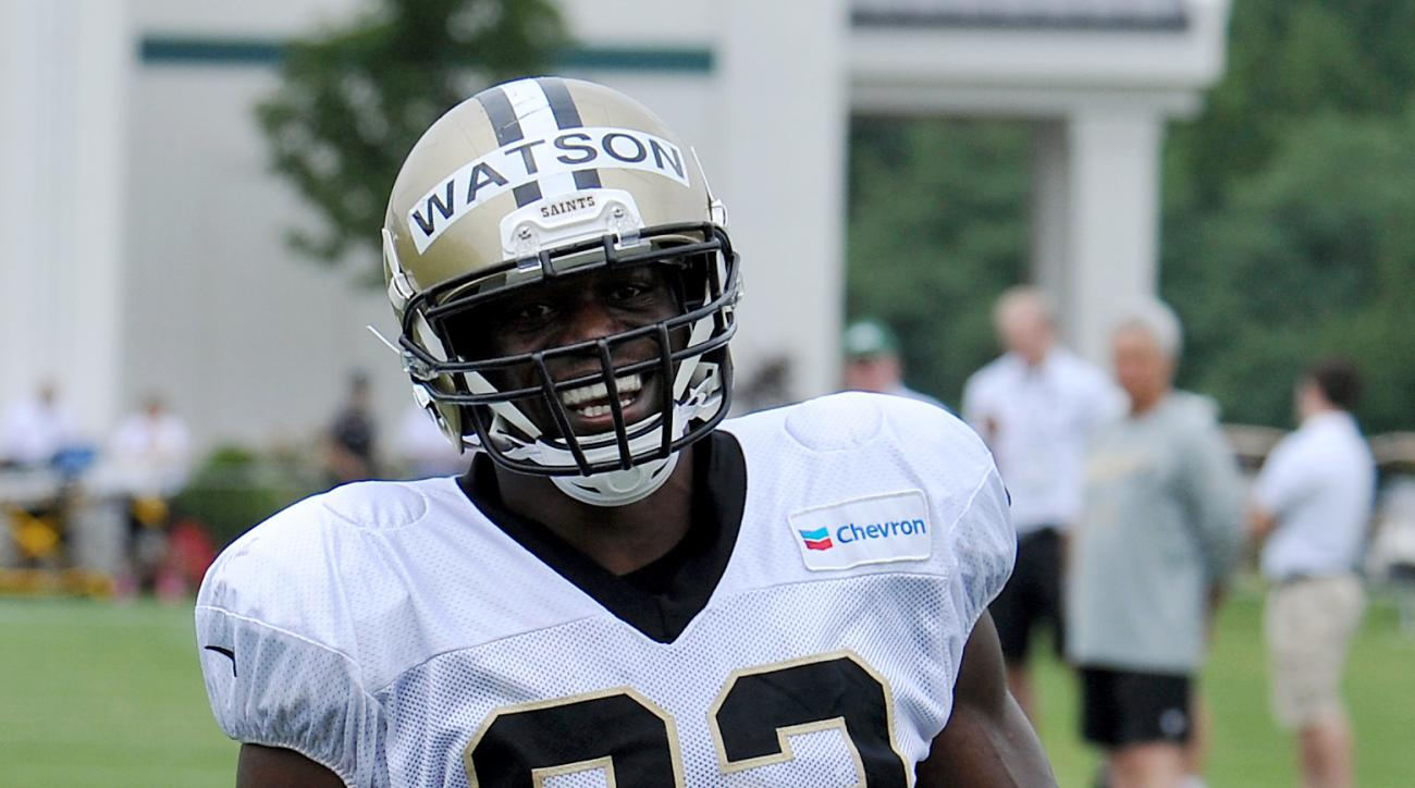 New Orleans Saints tight end Benjamin Watson (82) smiles after scoring during the team's NFL football training camp in White Sulphur Springs, W. Va., Thursday, Aug. 6, 2015. (AP Photo/Chris Tilley)