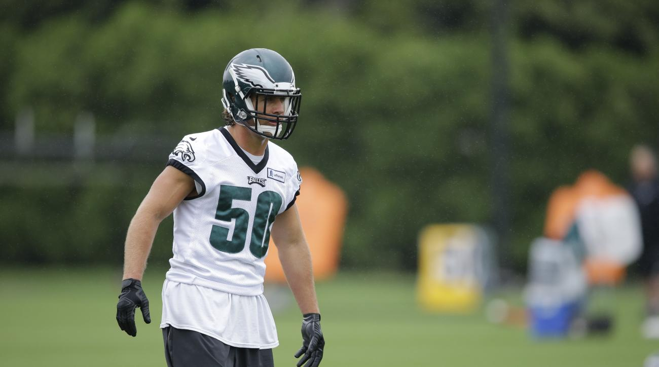 Philadelphia Eagles linebacker Kiko Alonso moves during organized team activities at the team's NFL football training facility, Tuesday, June 2, 2015, in Philadelphia. (AP Photo/Matt Rourke)
