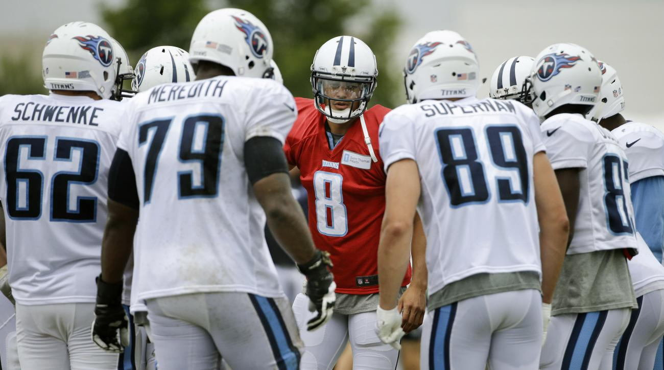 Tennessee Titans rookie quarterback Marcus Mariota (8) calls a play during NFL football training camp Friday, Aug. 7, 2015, in Nashville, Tenn. Mariota is putting together quite the streak at training camp, having gone through his first week of practices