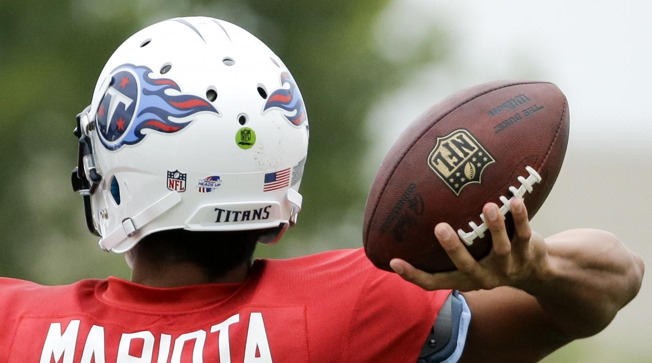 Tennessee Titans rookie quarterback Marcus Mariota (8) passes during NFL football training camp Friday, Aug. 7, 2015, in Nashville, Tenn. Mariota is putting together quite the streak at training camp, having gone through his first week of practices withou