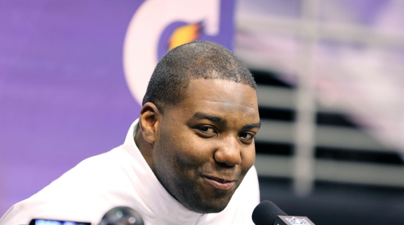 FILE - In this Jan. 27, 2015, file photo, Seattle Seahawks' Russell Okung speaks to the media during the NFL Super Bowl Media Day in Phoenix. Okung is often asked to go at it alone as a left tackle, so it should be no surprise that when it comes to negoti