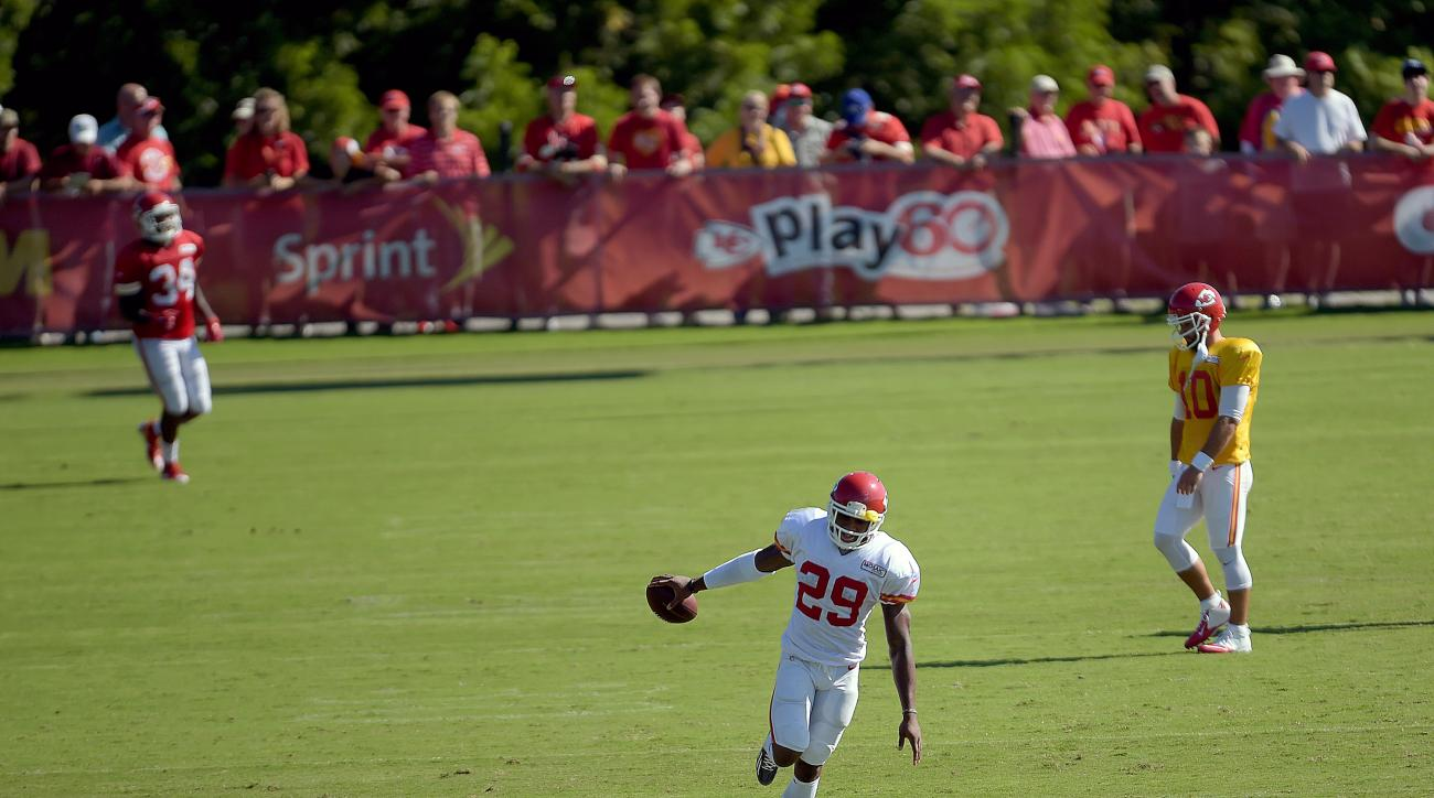 Kansas City Chiefs safety Eric Berry celebrates an interception Tuesday, Aug. 11, 2015, at NFL football training camp in St. Joseph, Mo. (Jessica A. Stewart/St. Joseph News-Press via AP)