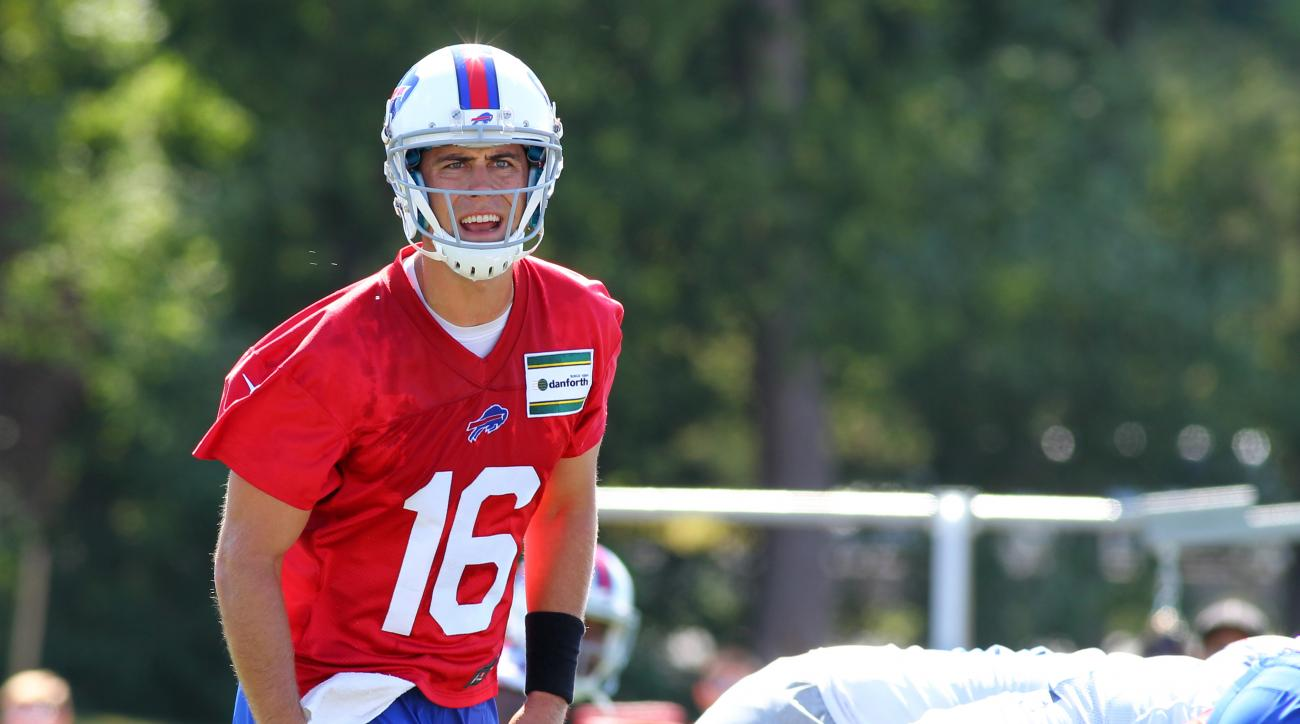 FILE - In this Aug. 1, 2015, file photo, Buffalo Bills quarterback Matt Cassel (16) takes part in drills during their NFL football training camp in Pittsford, N.Y. Some 11 months since breaking his right foot, quarterback Matt Cassel is preparing for an o
