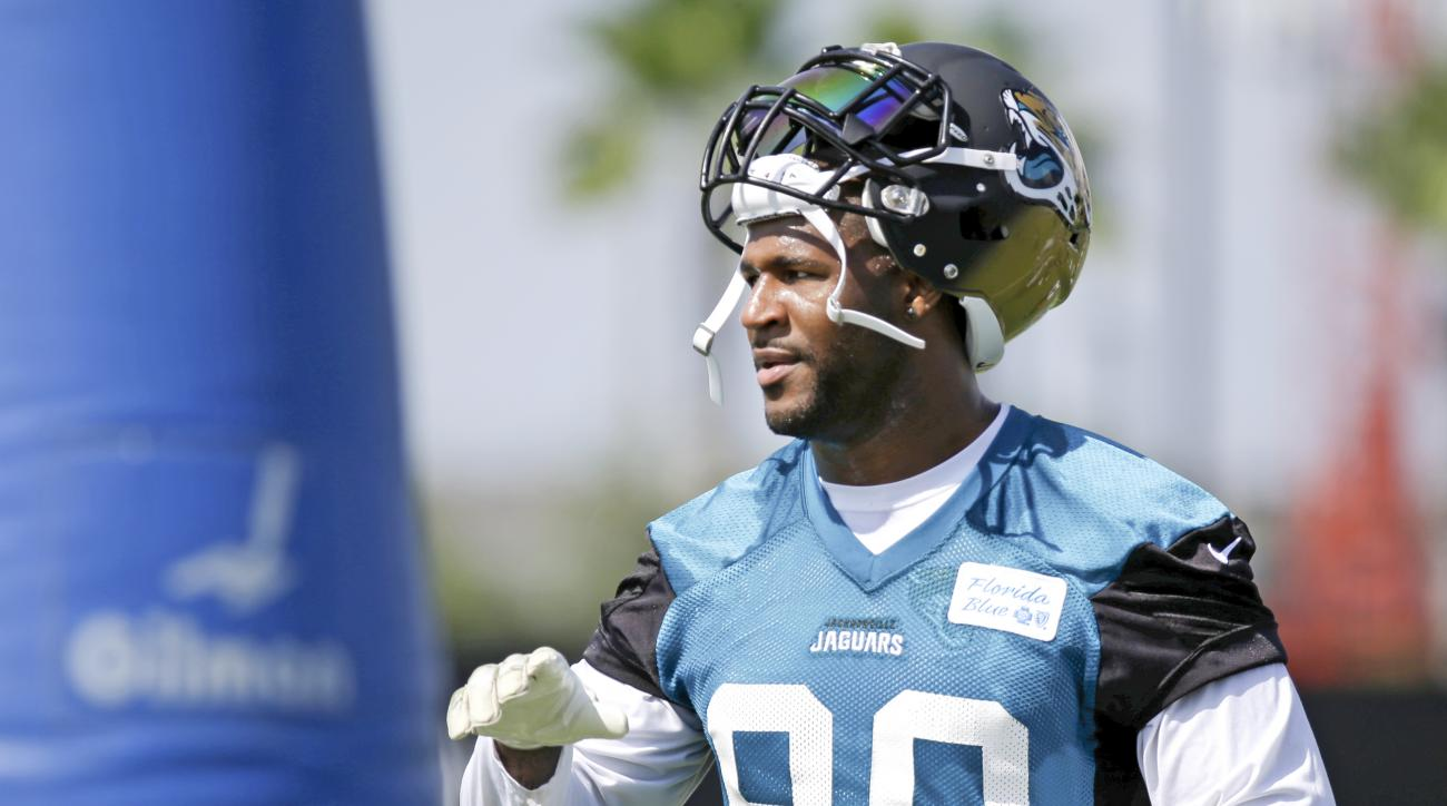 In this July 31, 2015, photo, Jacksonville Jaguars defensive end Andre Branch takes a break during practice at NFL football training camp, in Jacksonville, Fla. With first-round draft pick Dante Fowler Jr. out for the season and veteran Chris Clemons side