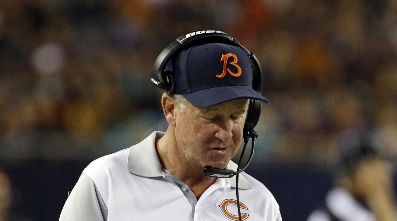 Chicago Bears head coach John Fox paces the sidelines during the second half of an NFL preseason football game against the Miami Dolphins in Chicago, Thursday, Aug. 13, 2015. (AP Photo/Nam Y. Huh)