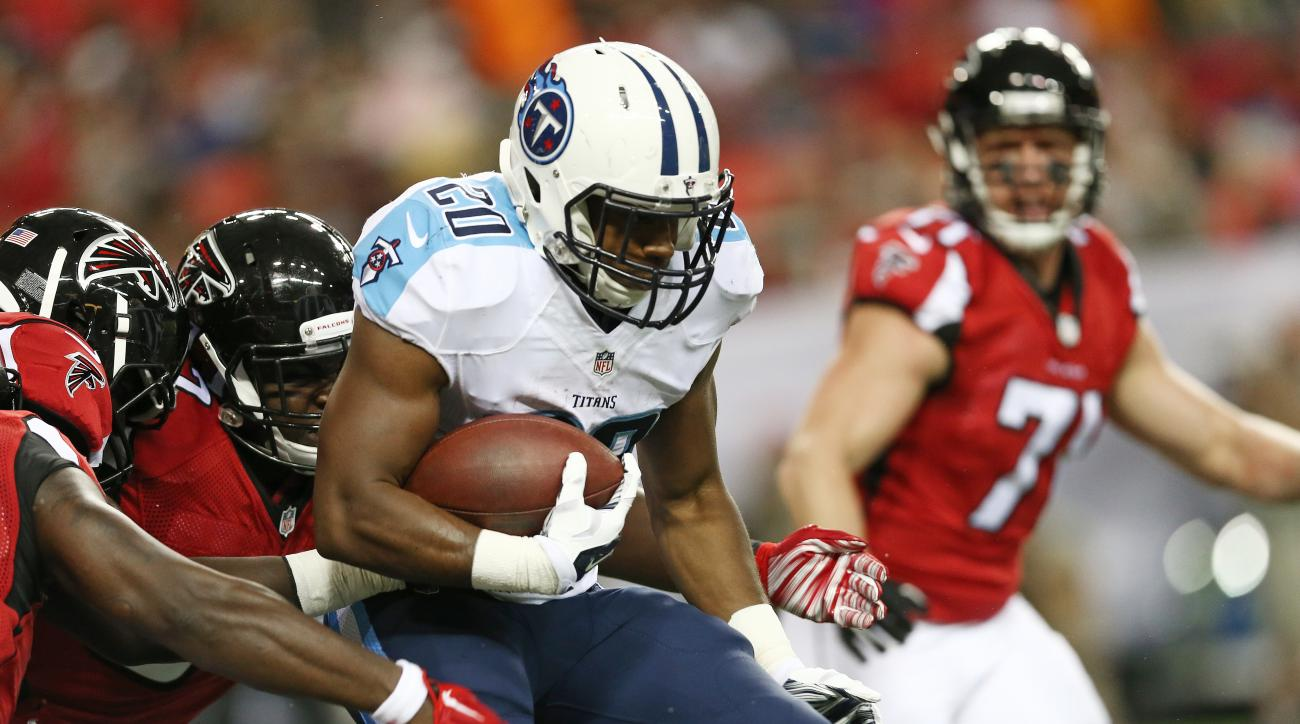 Tennessee Titans running back Bishop Sankey (20) runs against the Atlanta Falcons during the first half of an NFL football preseason game , Friday, Aug. 14, 2015, in Atlanta. (AP Photo/John Bazemore)
