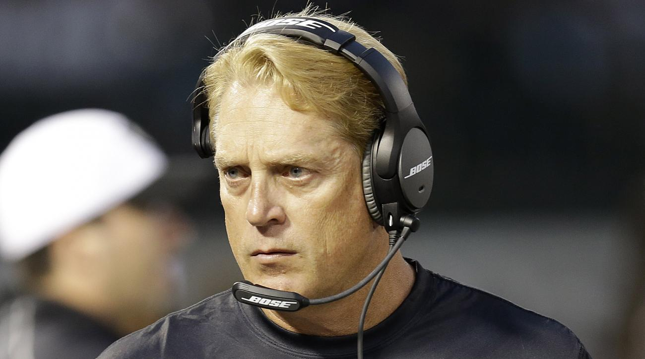 Oakland Raiders head coach Jack Del Rio walks on the sidelines against the St. Louis Rams during the first half of an NFL preseason football game in Oakland, Calif., Friday, Aug. 14, 2015. (AP Photo/Ben Margot)