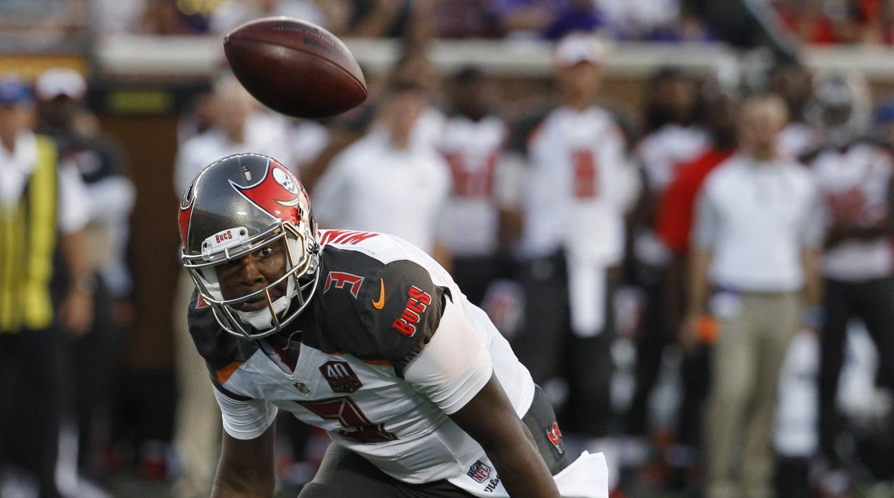 Tampa Bay Buccaneers quarterback Jameis Winston chases a fumbled snap, which he recovered, during the first half against the Tampa Bay Buccaneers in a preseason NFL football game Saturday, Aug. 15, 2015, in Minneapolis. (AP Photo/Ann Heisenfelt)