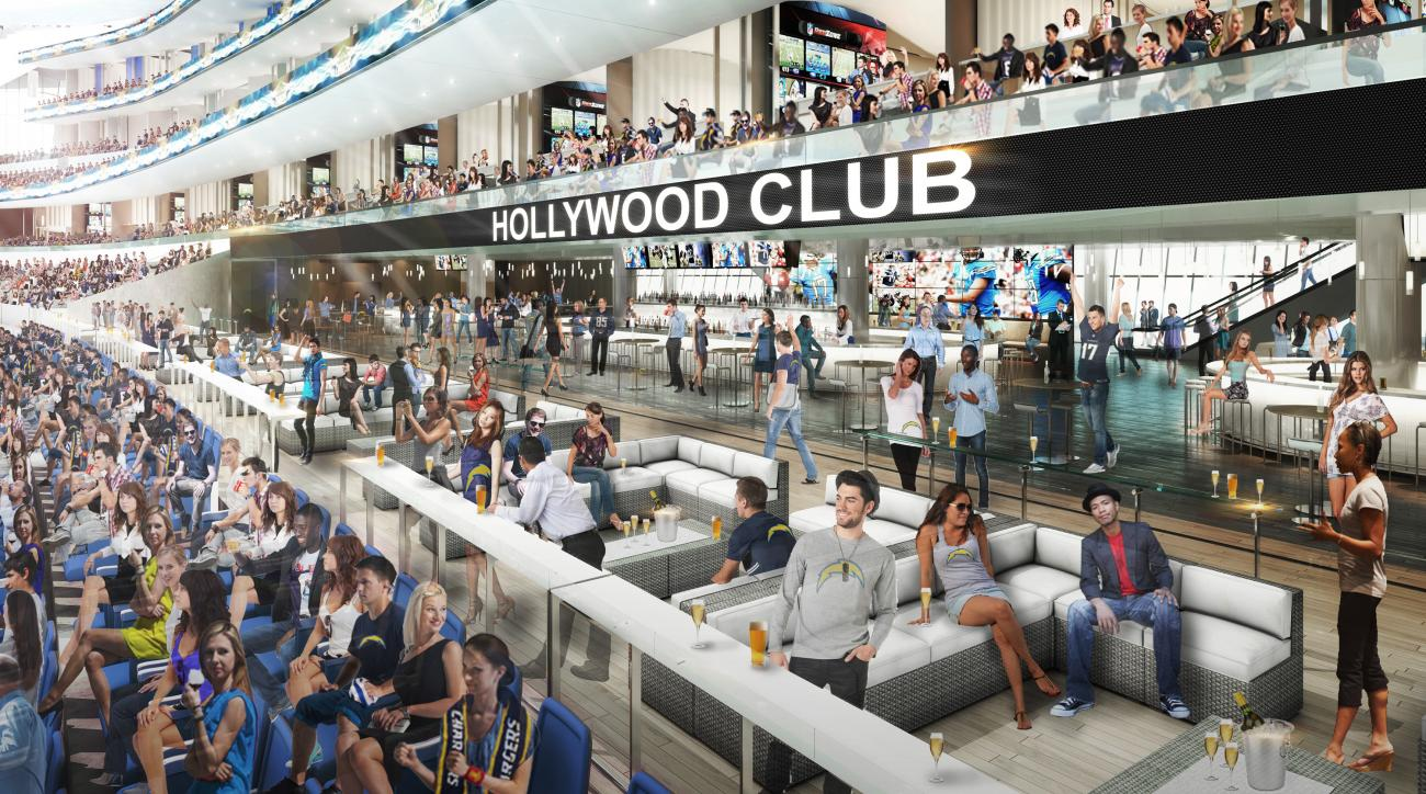 This undated architectural rendering provided by MANICA Architecture shows the Hollywood Club patio section for the proposed $1.7-billion NFL stadium in Carson, Calif. (MANICA Architecture via AP)