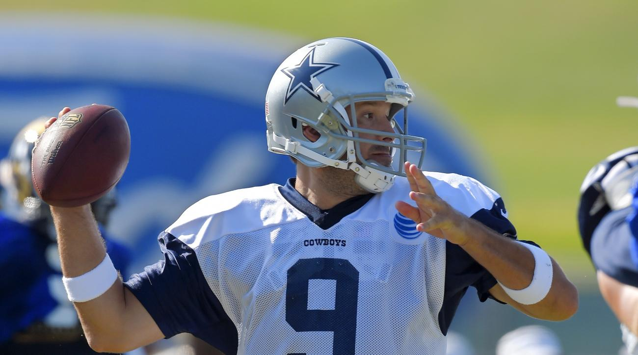 Dallas Cowboys quarterback Tony Romo passes during a joint NFL football training camp with the St. Louis Rams, Tuesday, Aug. 18, 2015, in Oxnard, Calif. (AP Photo/Mark J. Terrill)